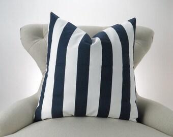 Navy Stripe Pillow Cover, Accent Pillow, Euro Sham, Decorative Cushion, Nautical, Bold -MANY SIZES- Navy Blue & White Canopy, Premier Prints