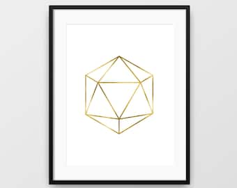 Geometric Print, Icosahedron Print, Minimalist Wall Art, Geometric Shape, Modern Art, Minimalist Print, Printable Art, Icosahedron, Wall Art
