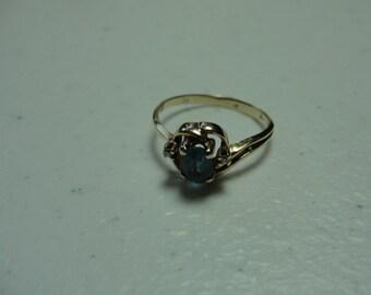 vintage topaz and diamond ring set in 10k gold