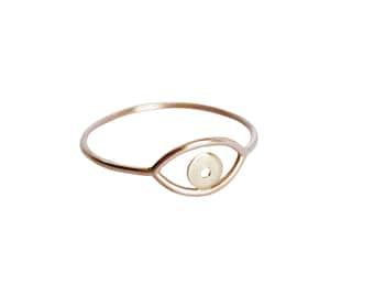 Rose & Gelb Gold Augenring, Auge-Ring, Auge-Ring, Rose Gold Ring, schlichter Goldring, dünnen goldenen Ring, gemischt Gold Ring, zarter Ring