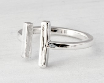 Silver Cuff Ring, Sterling Silver Cuff Ring, Bar Ring, Two Bar Ring, Minimalist Ring, Open Ring, Adjustable Ring, Gift For Her