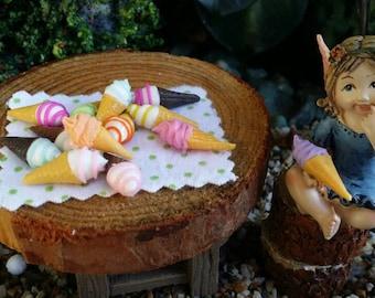 TWO Fairy garden ice cream cones, miniature ice cream, fairy ice cream, dollhouse ice cream cone, fairy food, mini food, dollhouse food