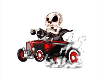 Reaper hot rod decal, full color racing reaper decal, racing death sticker, hot rod laptop sticker, skull hot rod decal