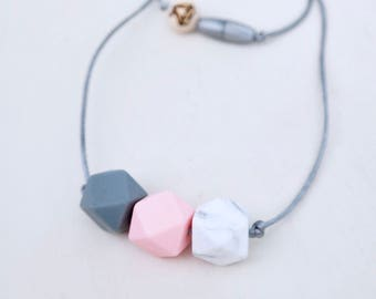 Boys and Girl Necklace || Pink or Blue Trio kids Silicone Necklace || Toddler Necklace || Dress Up Jewelry