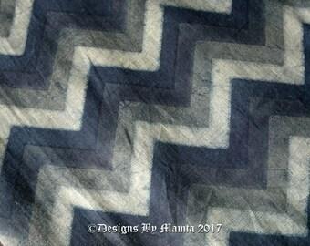 Ajrak Print Fabric, Indigo Block Print Fabric, Vegetable Printed Fabric, Dark Blue Chevron Print, Indian Cotton Fabric, Ethnic Indian Fabric