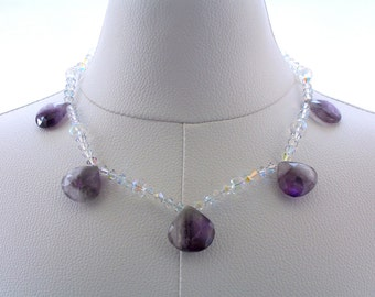 Gemstone Necklace, Amethyst Necklace, Beaded Necklace, Swarovski Crystal Necklace, Fashion Jewelry