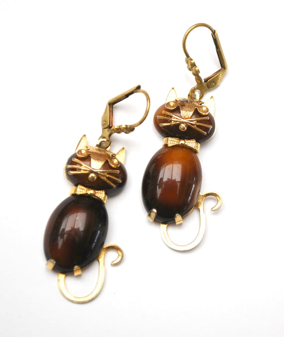 Brown Gold  cat earrings -  glass Cabochon  -  signed H  OB CO - House of Borvani  - dangle pierced earrings