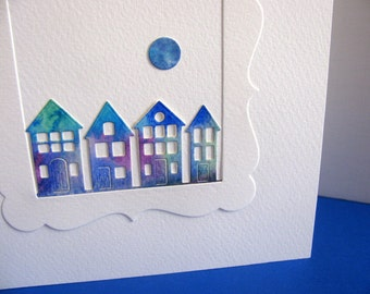 Watercoloured Houses & Moon on Creamy Ivory Square Card / Row of Houses / Deep Blue Shades, Touch of Green / approx 6x6 / Ready to Ship