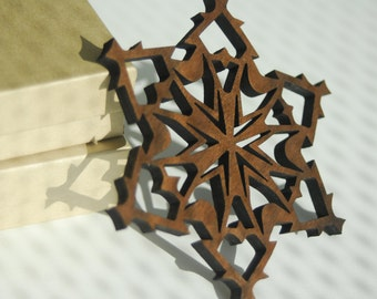 Wooden Snowflake Ornament - Walnut - Jack Frost