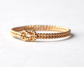 Yellow Gold Filled Twist Knot Promise Ring: Presents for Mom