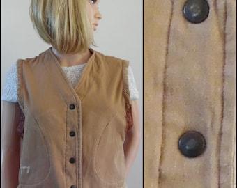 Womans Gringo sand colour waistcoat vest boho hippie waistcoat size small/medium