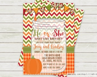 Fall Gender Reveal Invitation | Fall Baby Shower Invitation | Mason Jar Gender Reveal Invitation | Mason Jar Baby Shower Invitation | Invite