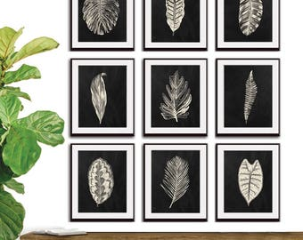 Industrial Island Botanicals (Series 9C) Set of 9 - Art Prints (Featured in Soft Cream and Blackboard) Botanical Beach Art Prints