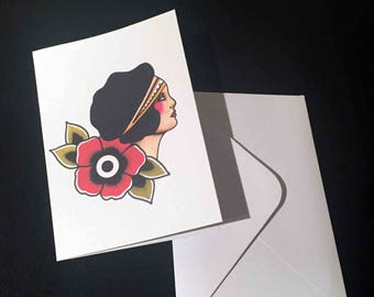 2+1 free! Double Post card with enveloppe - Tattoo Flash Traditional Girl