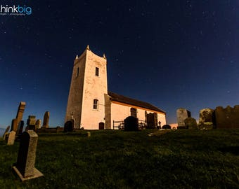 Ballintoy Church Northern Ireland - Starry Night Sky Photography - County Antrim - Graveyard Photograph Photo Print - Home Decor Wall Art