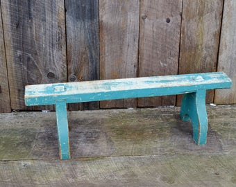 Vintage Wooden Stand Aqua Blue Turquoise Chippy Paint Shabby Patina Plant Stand Shelf Repurpose Display Photo Prop