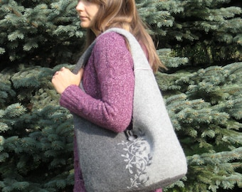 Embroidered Grey Hand Knit Wool Felted Shoulder Bag, Felted Wool Purse, Felted Wool hand bag, Hobo bag, available in Different COLORS