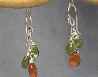 Peridot & Mandarin Garnet Earrings Victorian 49