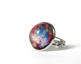 Orion Nebula platinum plated ring, space ring, antiallergic jewelry, Nebula ring, Constellation Jewelry