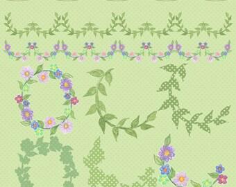 Watercolor Laurels, Watercolor Flowers, Handpainted Floral Borders, Watercolor Flower Border, Laurel, Watercolor Clipart, Watercolor Graphic