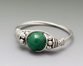 Malachite Bali Sterling Silver Wire Wrapped Beaded Ring - Made to Order, Ships Fast!