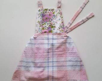 Violet pinny size 4 vintage upcycled  fabrics