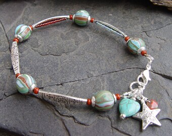 Art Beads, Bali Style Silver, Turquoise Magnesite Heart and Silver Star Southwest Bracelet Boho Gypsy