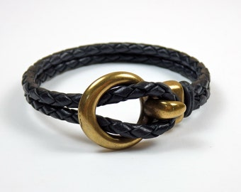 Black Braided Leather Open Hook Bracelet