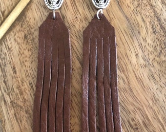 Handmade leather fringe earrings