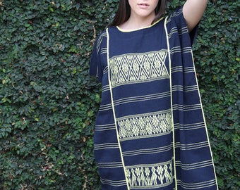 Dark Navy with pale Yellow  embroidery Huipil Dress Handwoven