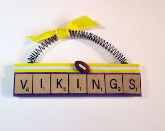 Minnesota Vikings Football Scrabble Tile Ornaments