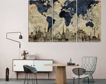 large abstract art on canvas world map wall art old world map canvas print rustic world
