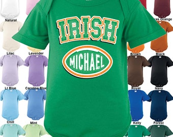 IRISH - football design Bodysuit - Personalized with Name - Boys / Girls / Irish / St. Patrick's Day