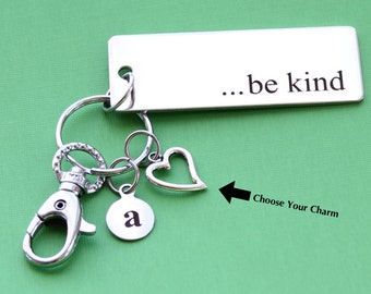 Personalized Be Kind Key Chain Stainless Steel Customized with Your Charm & Initial -K37