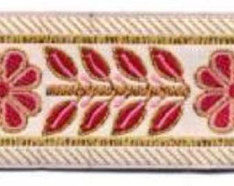 Laurel Leaf Daisy Jacquard Ribbon Trim Metallic Gold Pink Raspberry Floral Renaissance Flower SCA Costume Garb Trim 4 Yards