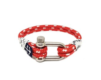 Red Bracelet,Rope Jewelry, Navy Bracelet , Shackle Jewellery, Nautical Bracelet, Beach Bracelet, Unisex Bracelet, For Her, For Him