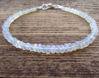 Ethiopian Opal Bracelet, October Birthstone Bracelet, Opal Gemstone Bracelet, Welo Opal Jewelry, Women's Stack Bracelet, Bracelets For Women