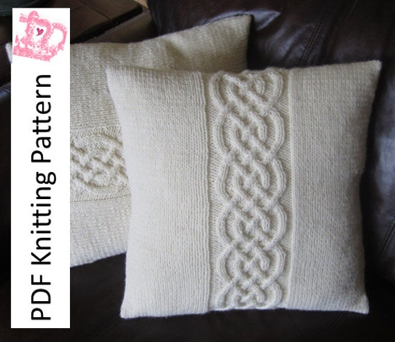Cable Knit Pillow Cover Pattern Knit Pattern Pdf Celtic Knot