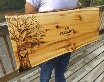 Personalized Wedding Guest Book Wood Slab Woodburned Handcrafted Customized Wood Signs ( Cedar w/ Live Edge)
