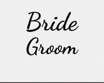 bride groom svg dxf jpeg png file stencil monogram frame silhouette cameo cricut clip art commercial use