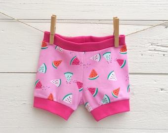 Watermelon Baby Shorts, Shorties, Baby Girl Shorts, Pink Baby Shorts, Baby Bloomers, Toddler Shorts, Summer Shorts, Baby Gift Idea