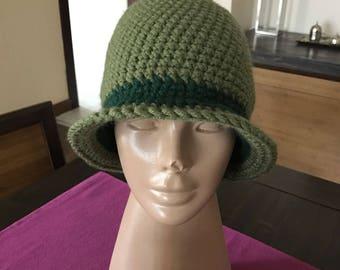 Women Crochet Hat, Green Crochet Hat, Crochet Winter Hat, Womens Hat, Womens Crochet Hat, Crochet Cloche Hat, Gift For Wife, Gift For Mom