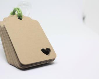 Kraft paper tags, Corner heart kraft tags, Kraft gift tags, DIY wedding thank you tags, Wedding favor tags, Blank hang tags, Thank you favor