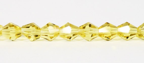 "Bicone Crystal Beads 6mm Bright Lemon Yellow Faceted Chinese Crystal Glass Beads for DIY Jewelry Making on an 11 1/2"" Strand with 50 Beads"