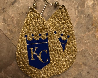Gold kc leather earrings