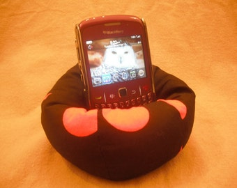 Cell Phone Bean Bag Chair or Kindle Kouch (eReader Rest) Large Orange Dots on Black