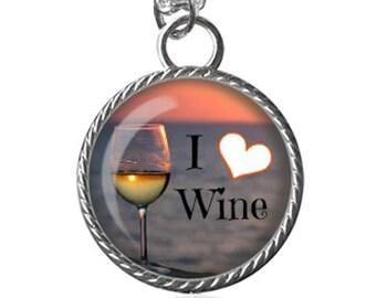 Wine Necklace, Wine Lovers Necklace, I Love Wine Image Pendant Key Chain Handmade