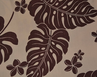Vintage Hawaiian fabric FABRIC brown Tropical by the yard large scale Monstera leaves tropical leaf print Trans Pacific Polynesian Tiki