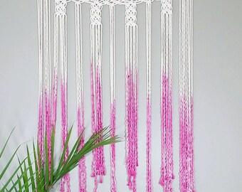 Macrame Curtain- Wall Accent- Bohemian Decor- Modern Macrame- Pink Wall Accent- Boho Home Decor- Mermaid- Hello Unicorn- BohoChic- Gypsy