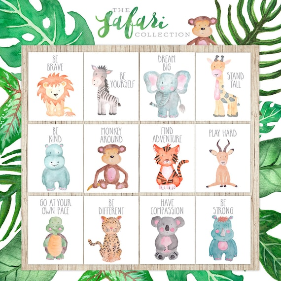 Safari Nursery Decor Jungle Theme Nursery Nursery Artwork: Nursery Printables Set Of 12 Safari Nursery Wall Art Decor